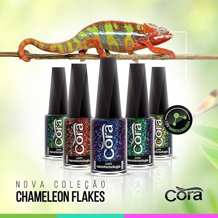 Esmaltes Coleção Chameleon Flakes Cora