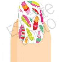 Adesivo de Unha Penas Coloridas