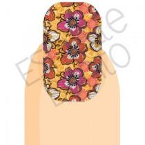 Adesivo de Unha Floral Rosa e Laranja 2