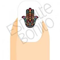 Adesivo de Unha Mão de Hamsá Colorida