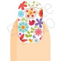 Adesivo de Unha Flores e Passarinhos