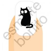 Adesivo de Unha Gatinho Preto