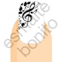 Adesivo de Unha Notas Musicais