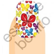 Adesivo de Unha Borboleta Vermelha com Borboletinhas