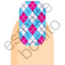 Adesivo de Unha Losangos Rosa, Azul e Branco