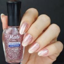 Esmalte Nati Incolor Rosa Glitter 5free